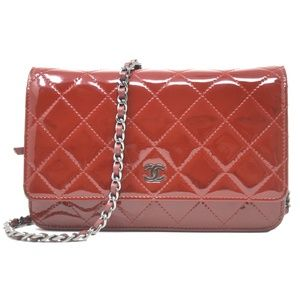 Chanel Wallet on Chain Patent Woc Red Clutch